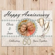 60 wedding anniversary personalised diamond 60th wedding anniversary party photo poster n49