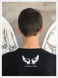 neck wing tattoos t shirts for men and women by two wings tattoo no store