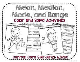 range mean median and mode color and solve no prep activities