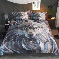 wolf bed set the great wolf warrior by sunimaart bedding set 3 pcs wolvestuff