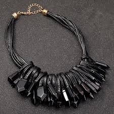 black statement choker necklace images Uddein multi layer black leather chain acrylic gem pendant jpg