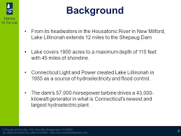 connecticut light and power still river study sponsored by friends of the lake presented by
