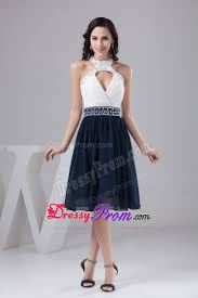 and navy blue halter prom cocktail dress with sector front