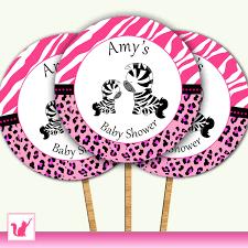 printable personalized cute jungle zebra cupcake topper