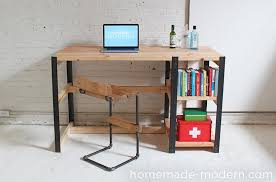 picture of modern diy desk with rustic tabletop with diy modern
