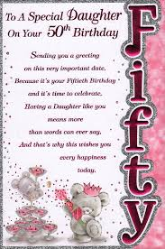 daughter 50th birthday card u0027to a special daughter on your 50th