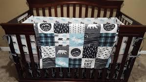 Crib Bedding Boy Woodland Moose Baby Boy Crib Bedding Moose Black Arrows Aqua