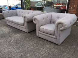 Grey Fabric Chesterfield Sofa by Dfs Ritz Three Seater Sofa And Armchair Full Back Chesterfield