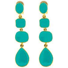 clip on earrings uk gold turquoise blue enamel drop clip on earrings