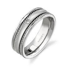 shotgun wedding ring 14k white gold bezel rope trim diamond men s band nk15380 w bova