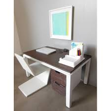 White Parsons Desk Modern Dollhouse Furniture M112 Pods Parsons Desk In White And
