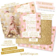 1 birthday invitation pink gold first birthday invitation with photo big one 1st