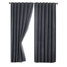 Curtains 95 Absolute Zero Total Blackout Stone Blue Faux Velvet Curtain Panel