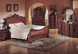 Cherry Wood Sleigh Bedroom Set Deep Cherry Finish Classic Traditional Bedroom W Sleigh Bed