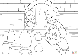 the widow and her sons pour oil into all the jars coloring page