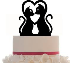 wedding cake topper couple kitty silhouette cat lovers