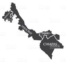 hidalgo veracruz tabasco chiapas map mexico illustration stock