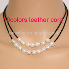 pearl string necklace images Black leather and pearl necklace black string and pearl necklace jpg