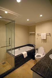 modern hotel bathroom bathroom adorable clear glass frameless walk in shower with dark