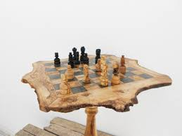 unique chess pieces engraved olive wood unique rustic chess set table 18 inch wooden