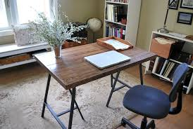 Trestle Computer Desk How To Make A Desk With Ikea Trestle Legs And Old Wood Flooring