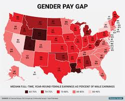 Red State Map by Gender Pay Gap State Map Business Insider