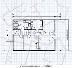 The Notebook House Floor Plan House Blueprint On Engineering Sheet Stock Vector 93486037