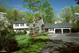 Split Level Style Splitlevel Ranch Style House With A Double Garage Stock Photo