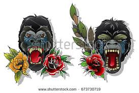 vector angry monkey tattoo design stock vector 673730719