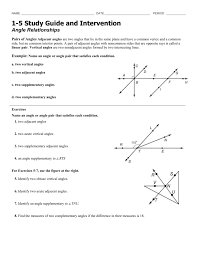 Worksheet On Complementary And Supplementary Angles 1 5 Study Guide
