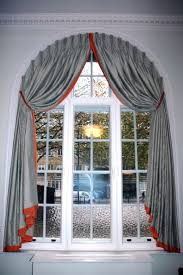 Decorative Traverse And Stationary Drapery by Coffee Tables Arched Window Curtains Arched Window Treatment