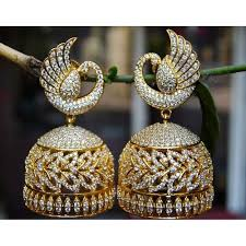 jhumka earrings online buy real look peacock diamond jhumka earrings online in india at
