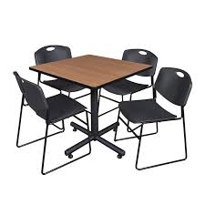 Staples Conference Tables 42 Square Room Table With 4 4400 Stack Chairs The