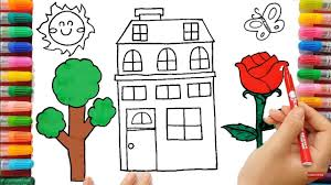 villa house coloring pages drawing rose flower under the sun
