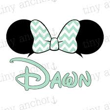 printable mint green chevron minnie mouse ears bow