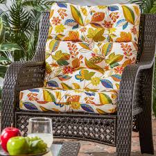 High Back Patio Chair Cushion 44x22 In Outdoor Roma Stripe High Back Chair Cushion Patio