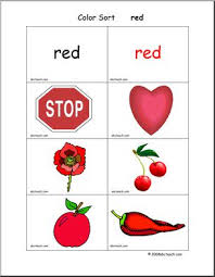 flashcards color sort red abcteach