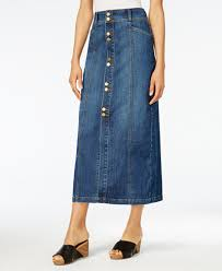 denim skirts style co button front midi denim skirt created for macy s