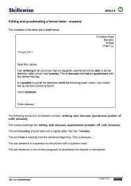 Editing And Proofreading Worksheets Editing And Proofreading A Formal Letter