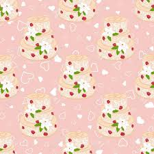 vector pink wedding seamless pattern with cake with two hearts