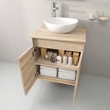 compact bathroom vanity unit floorstanding oak effect countertop