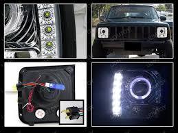 new oem 1997 2001 jeep cherokee fog light install kit 01 jeep cherokee chrome halo projector headlights with leds