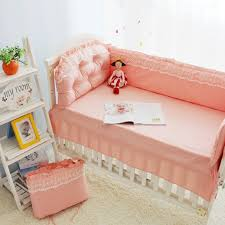 Children Bed Set Lace Pink Princess Bedding Set Baby Cot 100 Cotton Children S Bed