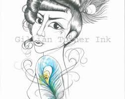 peacock tattoo etsy