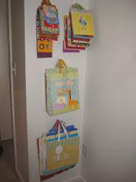 craft room organization gift bags on hooks in craft corner www
