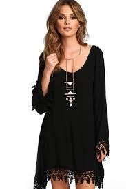 black scoop neckline look long sleeve casual dress cute casual