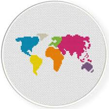 free world map cross stitch pattern craft ideas pinterest