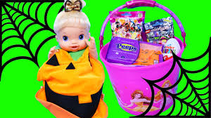 halloween nerds candy baby alive diy halloween pumpkin costume u0026 surprise toys buckets