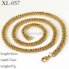 double necklace style images 2018 47g 7mm new style men 39 s 18k gold jewelry stainless steel jpg
