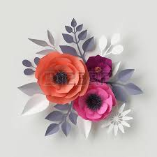 3d render digital illustration red pink paper flowers floral